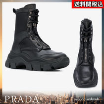 PRADA Plain Toe Blended Fabrics Street Style Plain Leather