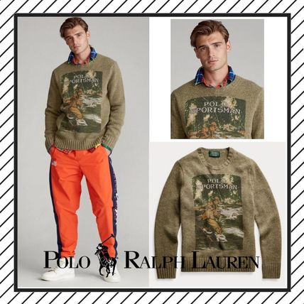 POLO RALPH LAUREN Vests & Gillets Crew Neck Cable Knit Wool Street Style Long Sleeves Logo