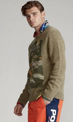 POLO RALPH LAUREN Vests & Gillets Crew Neck Cable Knit Wool Street Style Long Sleeves Logo 3