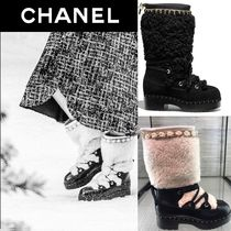 CHANEL Platform Lace-up Casual Style Blended Fabrics Bi-color Plain