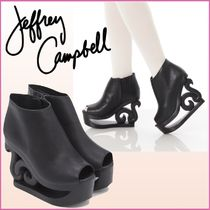 Jeffrey Campbell Open Toe Casual Style Blended Fabrics Plain Leather