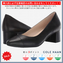 Cole Haan Round Toe Casual Style Plain Chunky Heels