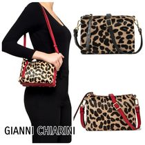 GIANNI CHIARINI Leopard Patterns Casual Style 2WAY Leather Office Style