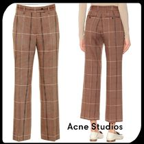 Acne Other Check Patterns Casual Style Wool Cotton Long