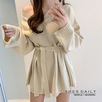 Casual Style V-Neck Long Sleeves Plain Medium Long Dresses