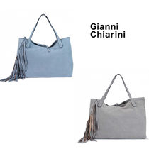 GIANNI CHIARINI Casual Style Suede A4 Plain Leather Fringes Office Style