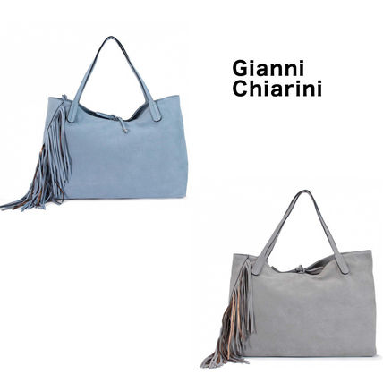 Casual Style Suede A4 Plain Leather Fringes Office Style