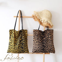 Leopard Patterns Casual Style Canvas A4 Totes