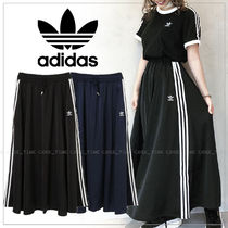 adidas Stripes Casual Style Plain Long Maxi Skirts