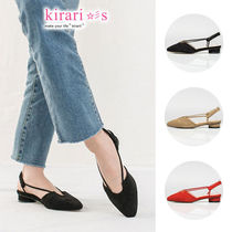 Round Toe Casual Style Suede Plain Pumps & Mules