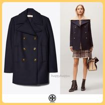 Tory Burch Wool Plain Medium Peacoats
