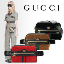 GUCCI Casual Style Suede Plain Hip Packs