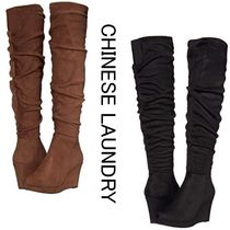 CHINESE LAUNDRY Wedge Casual Style Suede Plain Over-the-Knee Boots