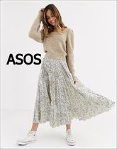 ASOS Dots Leopard Patterns Casual Style Pleated Skirts Long