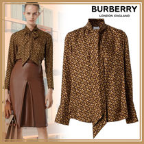 Burberry Monogram Casual Style Silk Street Style Long Sleeves