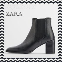 ZARA Plain Toe Round Toe Rubber Sole Casual Style Leather