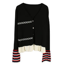 Cable Knit Stripes Peplum Bi-color Long Sleeves Plain Cotton