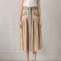Flared Skirts Casual Style Maxi Tweed Pleated Skirts