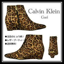 Calvin Klein Leopard Patterns Leather Ankle & Booties Boots