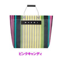 MARNI MARNI MARKET Stripes Other Plaid Patterns Casual Style A4 Totes