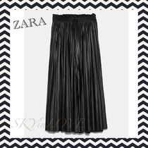 ZARA Casual Style Faux Fur Pleated Skirts Long Elegant Style