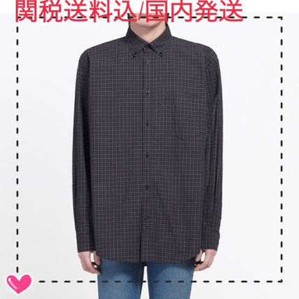 BALENCIAGA Shirts Gingham Long Sleeves Shirts