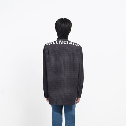 BALENCIAGA Shirts Gingham Long Sleeves Shirts 6