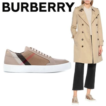 Tartan Round Toe Rubber Sole Lace-up Casual Style Leather