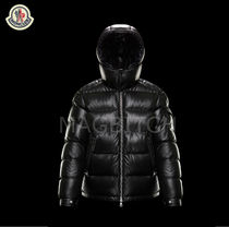 MONCLER Short Street Style Plain Leather Down Jackets