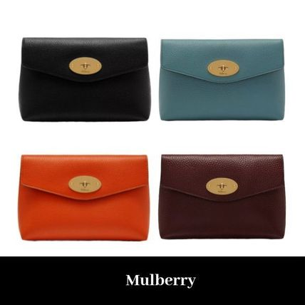Plain Leather Logo Pouches & Cosmetic Bags