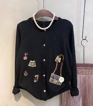 Casual Style Rib Blended Fabrics Street Style Long Sleeves