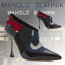 Manolo Blahnik Casual Style Suede Blended Fabrics Leather Pin Heels