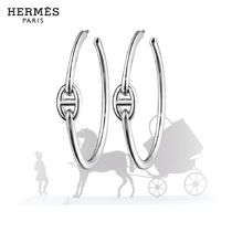 HERMES Chaine dAncre Casual Style Silver Earrings