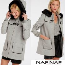 NAF NAF Wool Faux Fur Plain Medium Elegant Style Peacoats