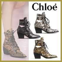 Chloe Casual Style Leather Block Heels Party Style Python