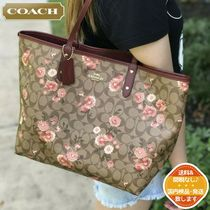 Coach Flower Patterns Monogram A4 2WAY Leather Logo Totes