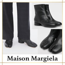 Maison Margiela Tabi Round Toe Plain Leather Block Heels Mid Heel Boots