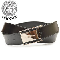 VERSACE Plain Leather Logo Belts