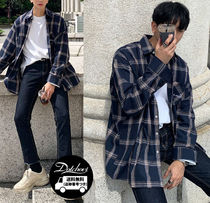 ASCLO Other Check Patterns Long Sleeves Cotton Oversized Shirts