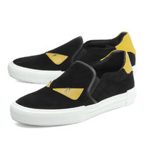 FENDI Suede Leather Logo Loafers & Slip-ons