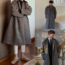 ASCLO Other Check Patterns Wool Long Oversized Coats