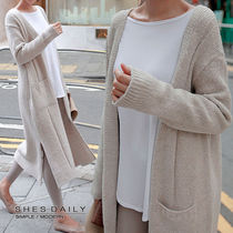 Casual Style Wool Nylon Long Sleeves Plain Long Cardigans