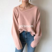 Short Casual Style Dolman Sleeves V-Neck Long Sleeves Plain