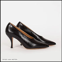 Dries Van Noten Leather Python Elegant Style Pointed Toe Pumps & Mules
