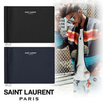 Saint Laurent Street Style Plain Leather Folding Wallets