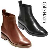 Cole Haan Round Toe Casual Style Plain Leather Block Heels