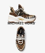 Michael Kors Monogram Leopard Patterns Platform Round Toe Rubber Sole