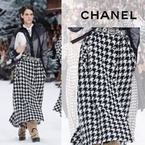 CHANEL Zigzag Wool Long Maxi Skirts