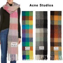 Acne Other Check Patterns Unisex Wool Fringes Oversized