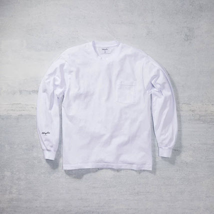 Street Style Long Sleeves Plain Cotton Logo Shirts